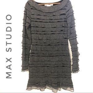 Max Studio Layered Ruffle Gray Long Sleeve Dress